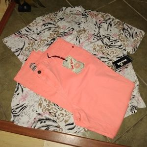 2 pieces shirt and jeans sz 18W